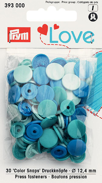 Prym Love Colour Snaps 12mm electric blue/turquoise/light blue